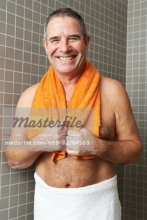 Portrait of Man in Bathroom Stock Photo - Premium Royalty-Free, Image code: 600-01764509