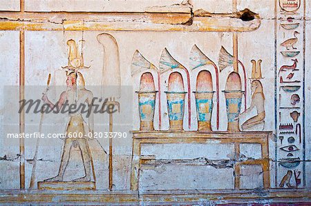 Hieroglyphics in Temple of Seti I Abydos, Egypt Stock Photo - Premium Royalty-Free, Image code: 600-02033790