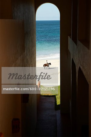 Man Riding Pony on Beach, Fairmont Rancho Banderas, Bahia de Banderas, Nayarit, Mexico