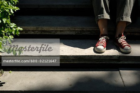 Woman's Feet on Stairs Stock Photo - Premium Royalty-Free, Image code: 600-02121647