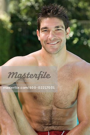 Portrait of Man in Bathing Suit Stock Photo - Premium Royalty-Free, Image code: 600-02217031