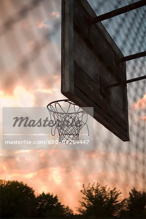 Basketball Net at Sunset, New York State, USA Stock Photo - Premium Royalty-Free, Image code: 600-02264447