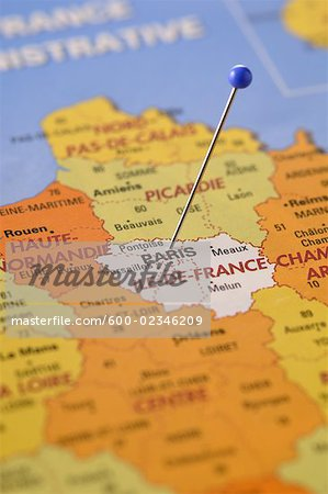 Pin in Map of Paris, France