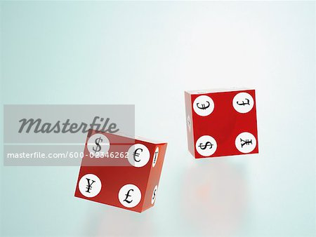 Cubes Displaying International Currency Symbols Stock Photo - Premium Royalty-Free, Image code: 600-02346262