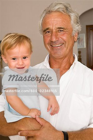 Portrait of Little Boy With Grandpa