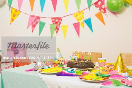 Table Set for Birthday Party Stock Photo - Premium Royalty-Free, Image code: 600-02461301