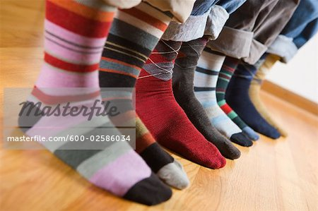 Close-up of People Wearing Colourful Socks Stock Photo - Premium Royalty-Free, Image code: 600-02586034