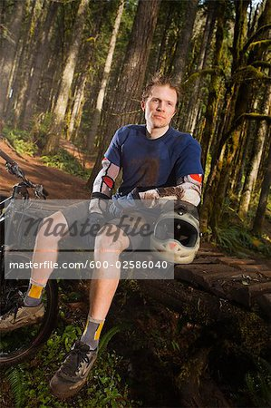 Portrait of Mountain Biker, Blackrock Mountain Bike Park, Near Salem, Oregon, USA