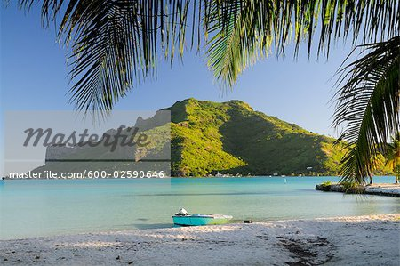 View of Mountain from Island, Maupiti, French Polynesia Stock Photo - Premium Royalty-Free, Image code: 600-02590646