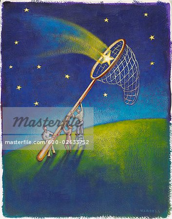 Illustration of People Catching Stars in Net