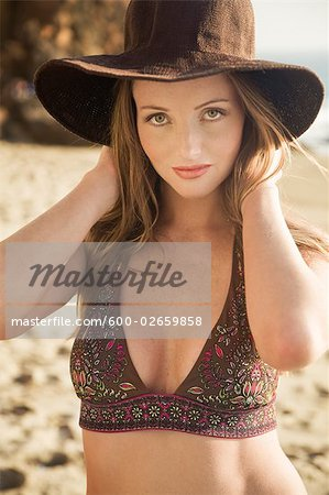Portrait of Woman on the Beach in Malibu, California, USA Stock Photo - Premium Royalty-Free, Image code: 600-02659858