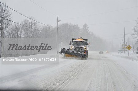Snowplow on Highway, Ontario, Canada Stock Photo - Premium Royalty-Free, Image code: 600-02670636