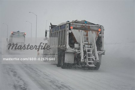 Snowplow on Highway, Ontario, Canada Stock Photo - Premium Royalty-Free, Image code: 600-02670640