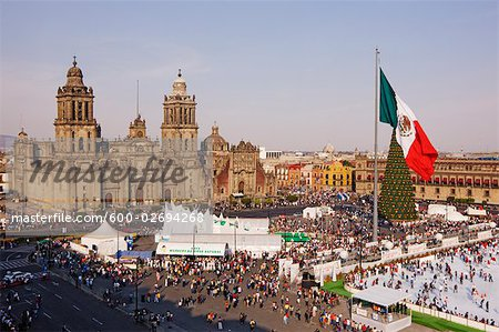 Christmas in the Zocalo in front of the Mexico City Metropolitan Cathedral, Mexico City, Mexico