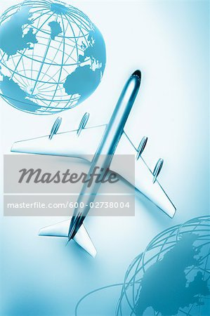 Boeing 707 Model Airplane and Globes Stock Photo - Premium Royalty-Free, Image code: 600-02738004