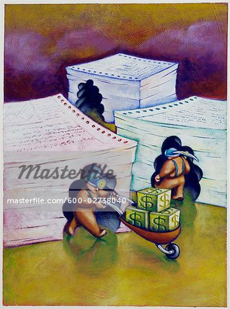 Illustration of Miners Extracting Money from Sheets of Data Stock Photo - Premium Royalty-Free, Image code: 600-02738040