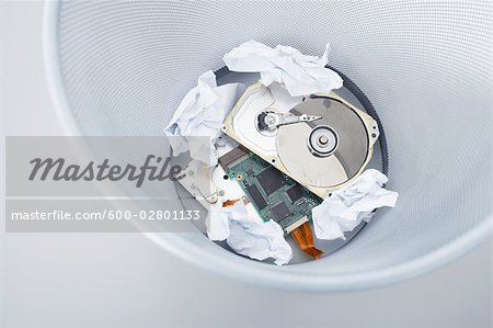 Computer Parts in Garbage Pail Stock Photo - Premium Royalty-Free, Image code: 600-02801133