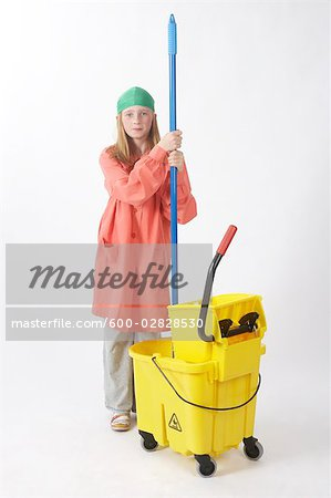 Girl Dressed Up as Janitor