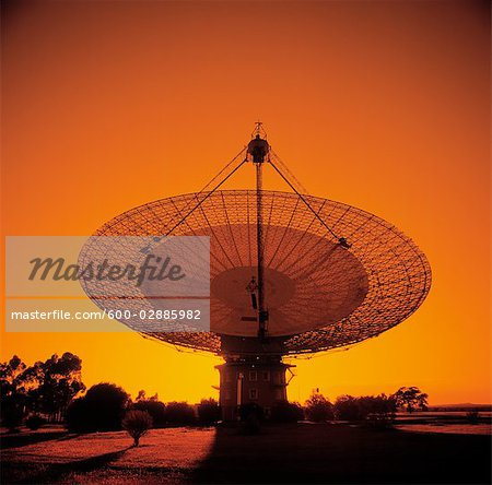 Radio Telescope, Satellite Receiving Dish, Sunset Silhouette Stock Photo - Premium Royalty-Free, Image code: 600-02885982
