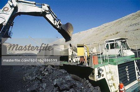 Black Coal Mining, Loading Coal Trucks, Australia
