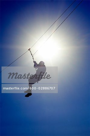 Man on a Zip Line, Brisbane, Queensland, Australia
