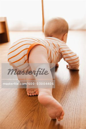Baby Crawling on Floor Stock Photo - Premium Royalty-Free, Image code: 600-03004406