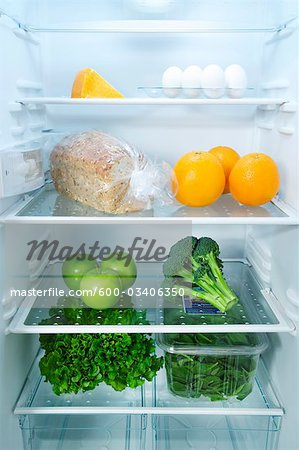 Fridge with Healthy Food Stock Photo - Premium Royalty-Free, Image code: 600-03406350