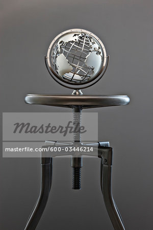 World Globe on Stool Stock Photo - Premium Royalty-Free, Image code: 600-03446214