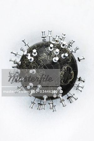 Globe with Pins Stock Photo - Premium Royalty-Free, Image code: 600-03446220