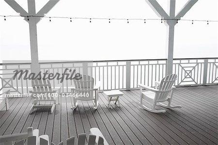 Adirondack Chairs on Porch, Jamaica Beach, Galveston Island, Texas, USA