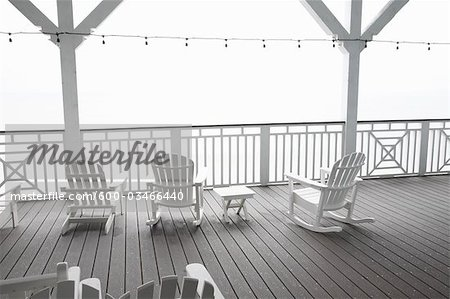 Adirondack Chairs on Porch, Jamaica Beach, Galveston Island, Texas, USA