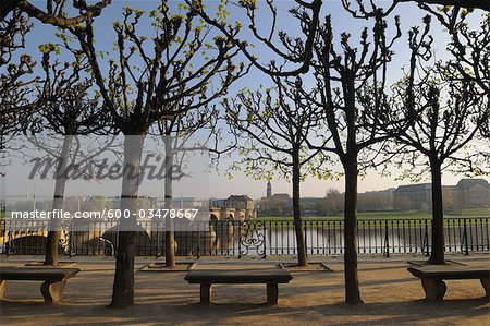 Bruhl's Terrace in the Morning, Augustus Bridge, Dresden, Saxony, Germany Stock Photo - Premium Royalty-Free, Image code: 600-03478667