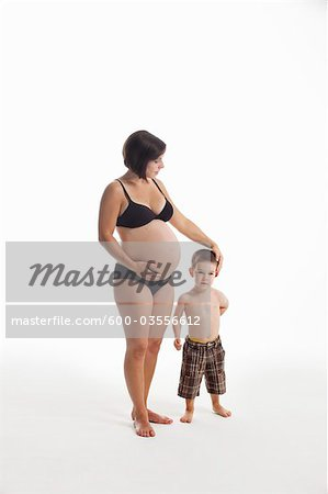 Portrait of Pregnant Mother and Son Stock Photo - Premium Royalty-Free, Image code: 600-03556612