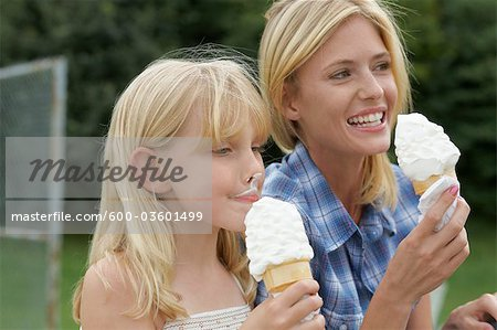 Mother and Daughter Eating Ice Cream Cones Stock Photo - Premium Royalty-Free, Image code: 600-03601499