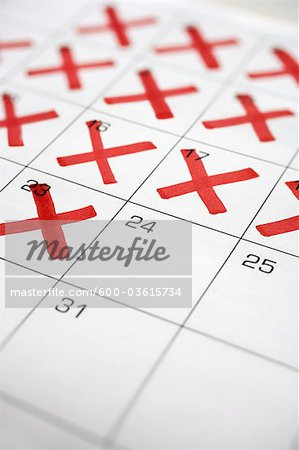 Calendar with X's up to the 24th Stock Photo - Premium Royalty-Free, Image code: 600-03615734