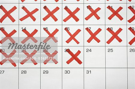 Calendar with X's up to the 24th Stock Photo - Premium Royalty-Free, Image code: 600-03615739