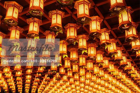 Lanterns, Hakkaku Manpuku Hall, Daisho-in Temple, Hatsukaichi, Hiroshima Prefecture, Chugoku Region, Honshu, Japan Stock Photo - Premium Royalty-Free, Image code: 600-03638799