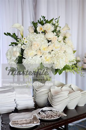 Utensils, Dishes and Flowers at Wedding Reception Stock Photo - Premium Royalty-Free, Image code: 600-03644688