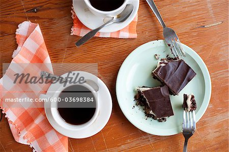 Gluten-free Nanaimo Bars and a Cup of Coffee, Vancouver, British Columbia, Canada Stock Photo - Premium Royalty-Free, Image code: 600-03698384