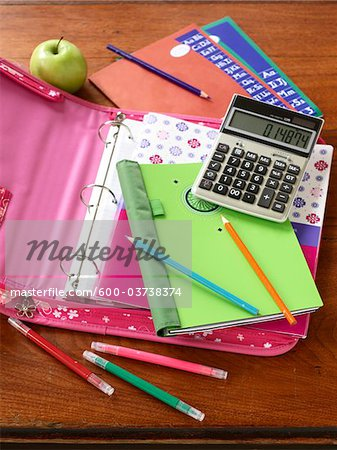 School Supplies Stock Photo - Premium Royalty-Free, Image code: 600-03738374