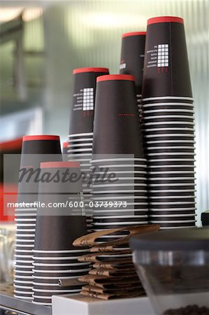 Paper Cups, Espresso Bar, Toronto, Ontario, Canada Stock Photo - Premium Royalty-Free, Image code: 600-03739373