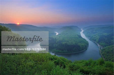 Saar Loop near Mettlach at Sunrise, Merzig-Wadern District, Saarland, Germany