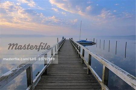 Sunrise and Jetty at Plauer See, Plau am See, Mecklenburg Lake District, Mecklenburg-Vorpommern, Germany Stock Photo - Premium Royalty-Free, Image code: 600-03787189