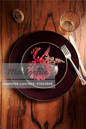 Place Setting on Wooden Table Stock Photo - Premium Royalty-Free, Image code: 600-03814646