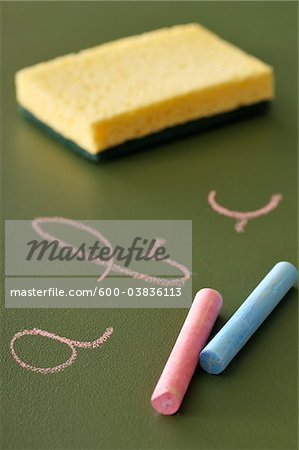 Chalk, Blackboard and Blackboard Eraser Stock Photo - Premium Royalty-Free, Image code: 600-03836113