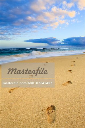 Footprints in Sand, Baldwin Beach Park, Maui, Hawaii, USA Stock Photo - Premium Royalty-Free, Image code: 600-03849493