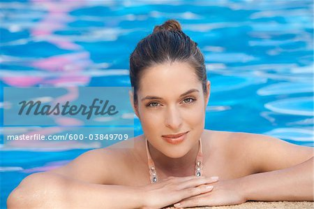 Portrait of Woman in Pool, Reef Playacar Resort and Spa, Playa del Carmen, Mexico