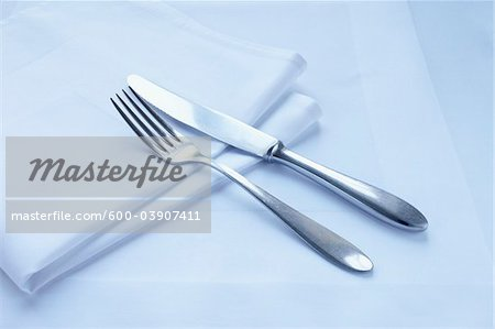 Close-up of Cutlery and Napkin Stock Photo - Premium Royalty-Free, Image code: 600-03907411