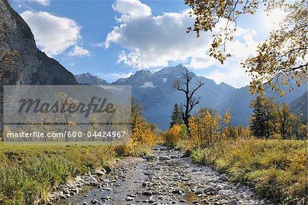 Mountain Stream in Autumn, Grosser Ahornboden, Karwendel, Tyrol, Austria