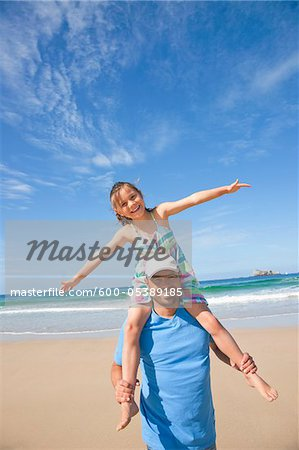 Father and Daughter on Beach, Camaret-sur-Mer, Finistere, Bretagne, France Stock Photo - Premium Royalty-Free, Image code: 600-05389185